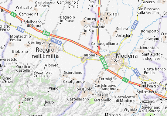 Karte Stadtplan Rubiera
