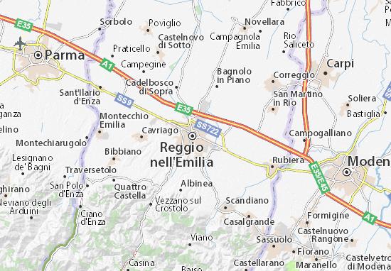 Bologna Cartina Politica.Mappa Michelin Reggio Nell Emilia Pinatina Di Reggio Nell Emilia Viamichelin
