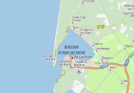 bassin d arcachon carte Carte détaillée Bassin d'Arcachon   plan Bassin d'Arcachon