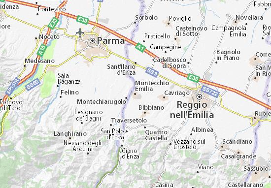Karte Stadtplan Montecchio Emilia