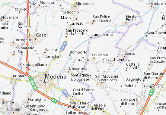 Karte Stadtplan Ravarino