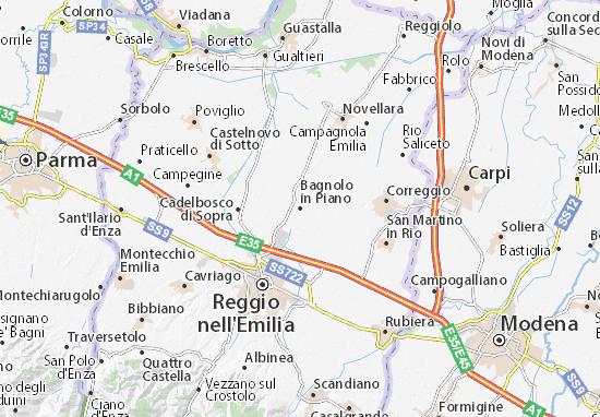 Karte Stadtplan Bagnolo in Piano