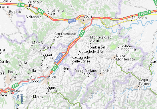 Karte Stadtplan Costigliole d'Asti