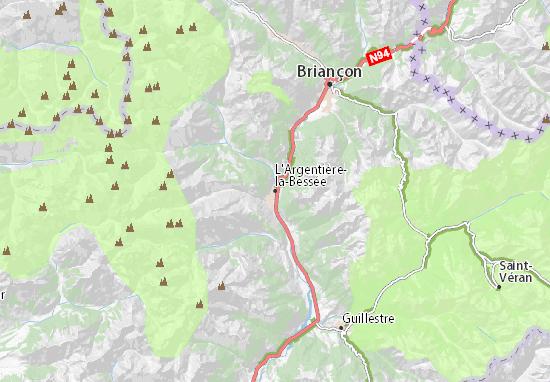 Kaart Plattegrond L'Argentière-la-Bessée