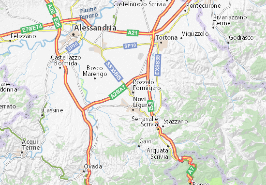 Karte Stadtplan Pozzolo Formigaro