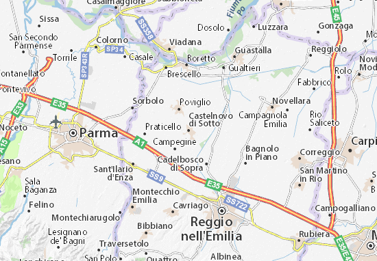 Karte Stadtplan Castelnovo di Sotto