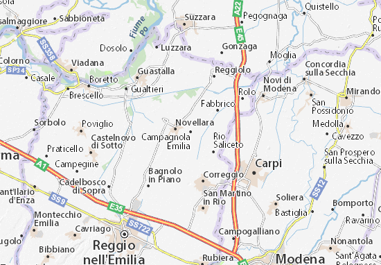 Campagnola Emilia Map