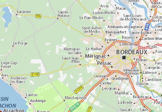 Karte Stadtplan Martignas-sur-Jalle