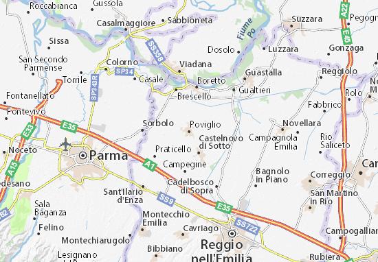 Karte Stadtplan Poviglio