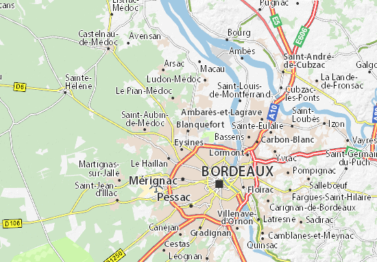 Carte d taill e blanquefort plan blanquefort viamichelin for T1 bordeaux location