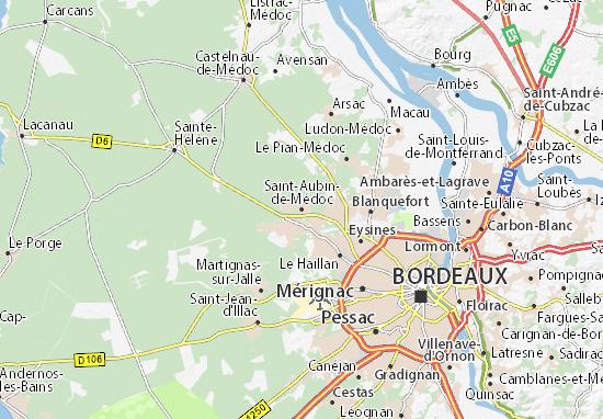 Kaart Plattegrond Saint-Aubin-de-Médoc