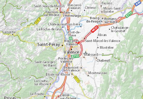 Karte Stadtplan Valence Viamichelin