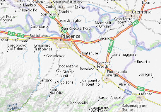 Karte Stadtplan Pontenure