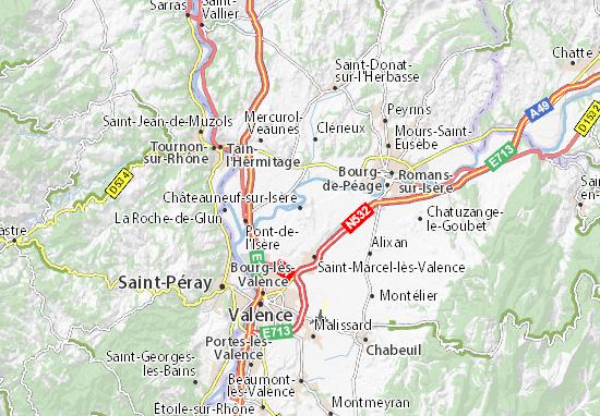 Carte détaillée Châteauneuf-sur-Isère - plan Châteauneuf-sur-Isère - ViaMichelin