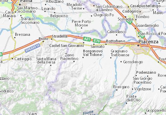 Karte Stadtplan Borgonovo Val Tidone