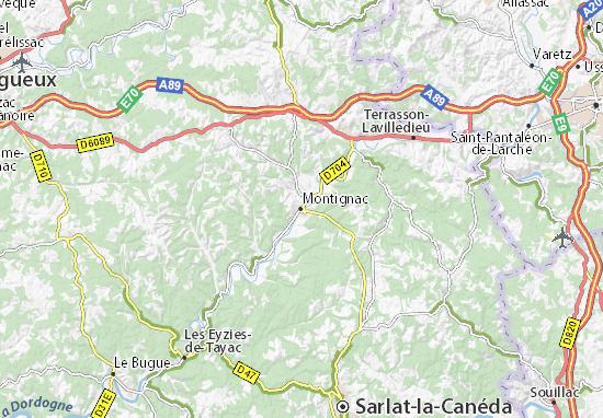 Map of Montignac  Michelin Montignac map  ViaMichelin