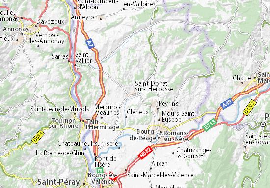 Kaart Plattegrond Saint-Donat-sur-l'Herbasse