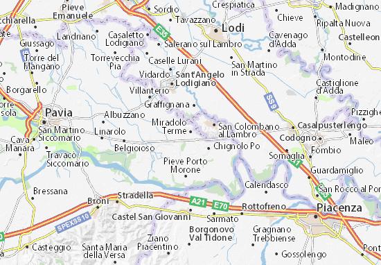Carte-Plan Miradolo Terme