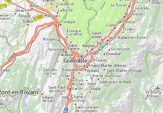 map of grenoble michelin grenoble map viamichelin. Black Bedroom Furniture Sets. Home Design Ideas