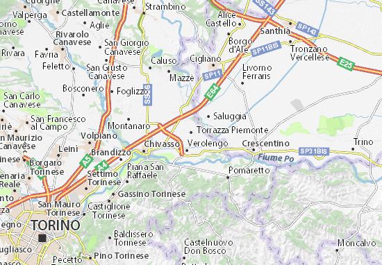 Piemonte Cartina Stradale.Mappa Michelin Torrazza Piemonte Pinatina Di Torrazza Piemonte Viamichelin