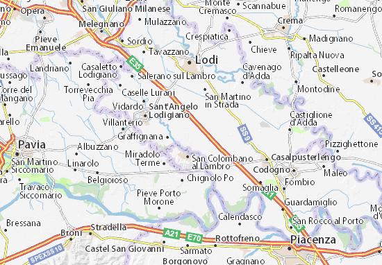 Karte Stadtplan Borghetto Lodigiano