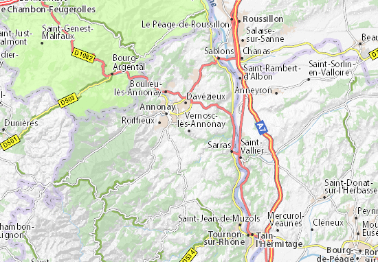 Karte Stadtplan Vernosc-lès-Annonay