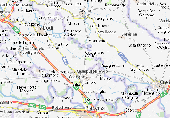Karte Stadtplan Castiglione d'Adda