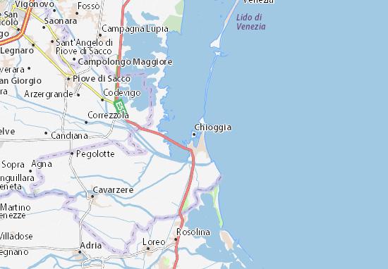 Litorale Veneto Cartina.Mappa Michelin Chioggia Pinatina Di Chioggia Viamichelin