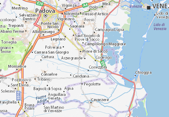 Cartina Veneto Michelin.Michelin Arzergrande Map Viamichelin