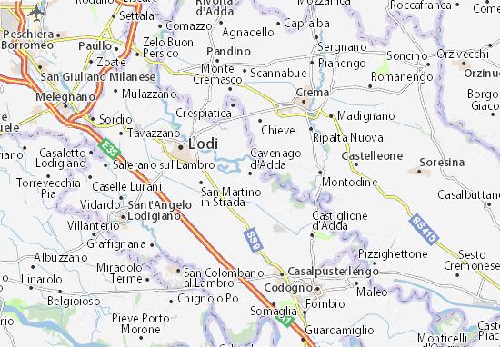 Karte Stadtplan Cavenago d'Adda