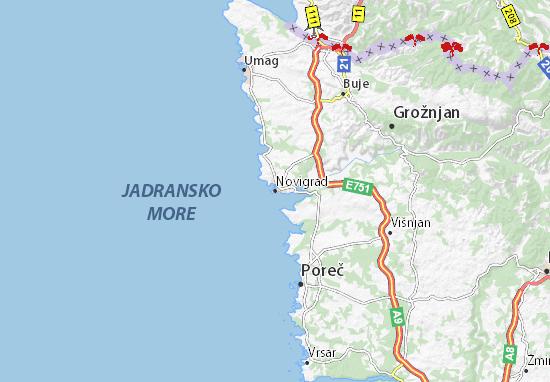 Istrien Karte Zum Ausdrucken.Karte Stadtplan Novigrad Viamichelin