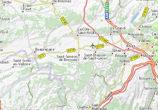 Karte Stadtplan Saint-Siméon-de-Bressieux