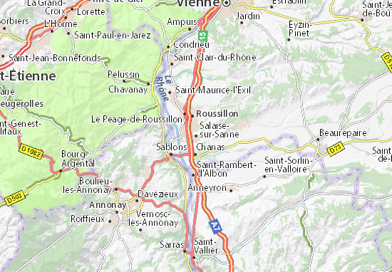 Karte Stadtplan Salaise-sur-Sanne