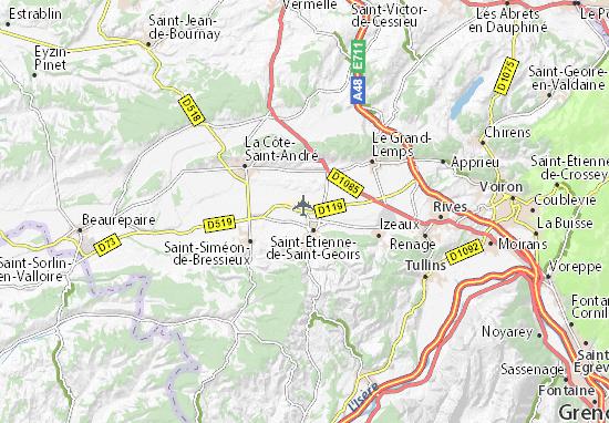Carte Detaillee Aeroport De Grenoble Saint Geoirs Plan Aeroport De Grenoble Saint Geoirs Viamichelin