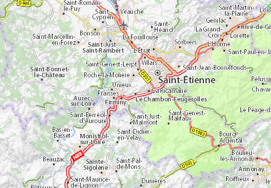 Kaart Plattegrond Le Chambon-Feugerolles