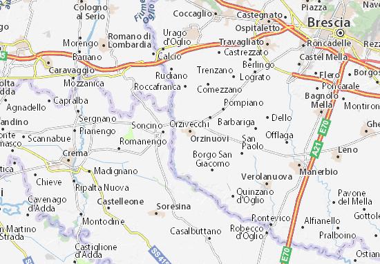 Karte Stadtplan Orzinuovi