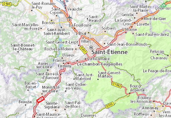 Kaart Plattegrond La Ricamarie