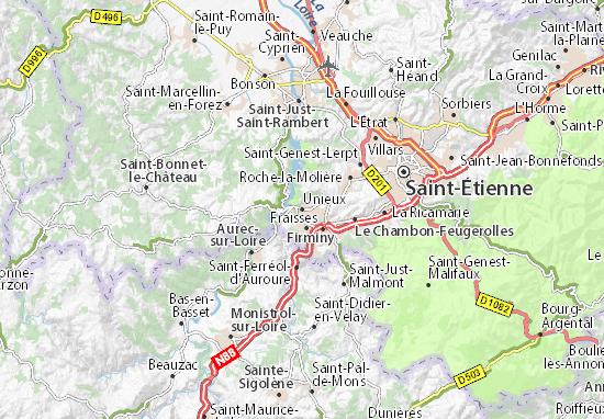 Karte Stadtplan Unieux