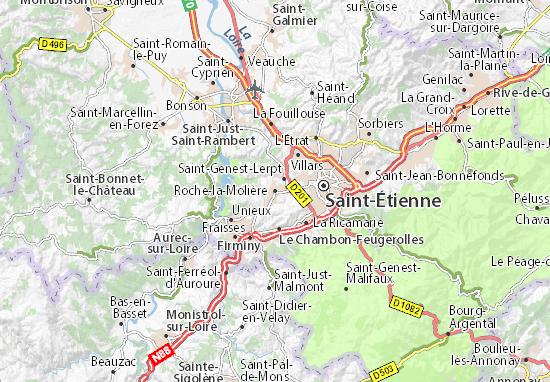 Kaart Plattegrond Roche-la-Molière