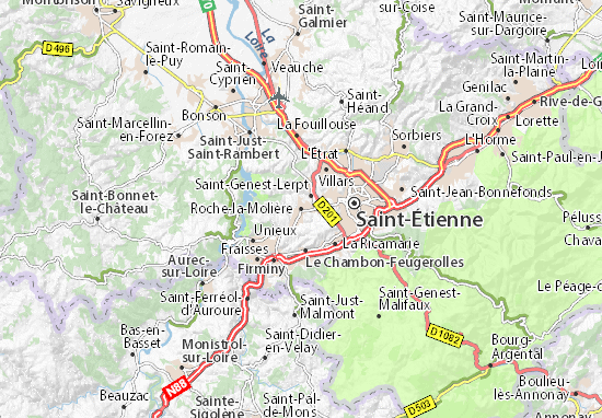 Karte Stadtplan Roche-la-Molière