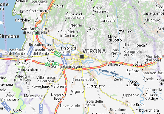 verona karta Map of Verona   Michelin Verona map   ViaMichelin verona karta