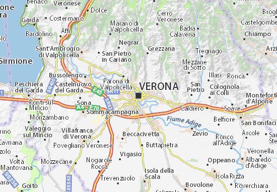 verona italija mapa Map of Verona   Michelin Verona map   ViaMichelin verona italija mapa