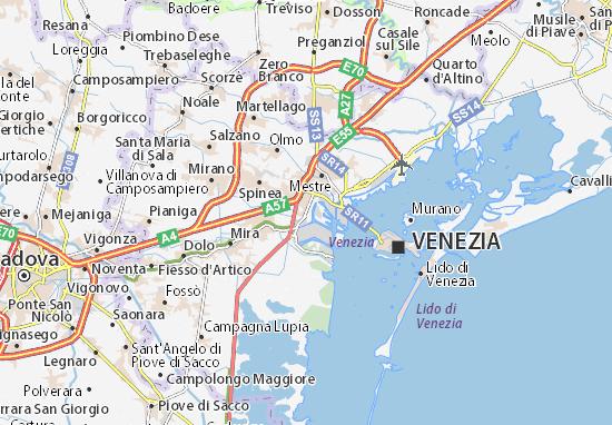 Cartina Di Venezia E Dintorni.Mappa Michelin Marghera Pinatina Di Marghera Viamichelin