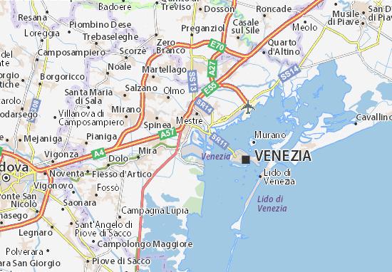 Cartina Venezia Mestre.Mappa Michelin Porto Marghera Pinatina Di Porto Marghera Viamichelin