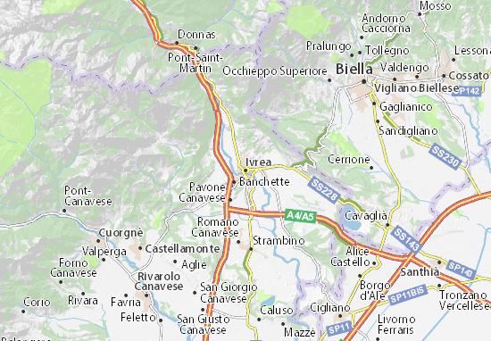 Karte Stadtplan Ivrea