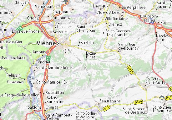 Karte Stadtplan Eyzin-Pinet