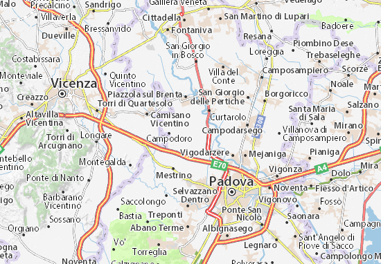Karte Stadtplan Villafranca Padovana