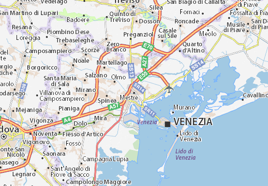 Map of Mestre Michelin Mestre map ViaMichelin – Venice Tourist Attractions Map