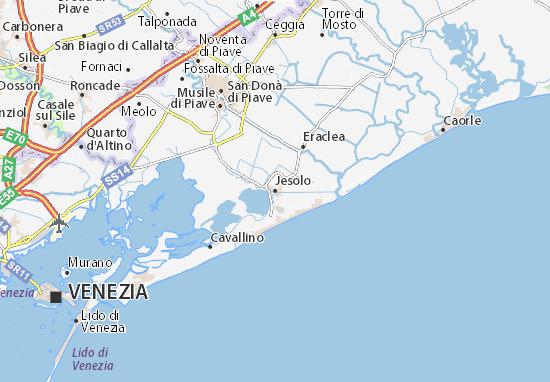 Cartina Di Venezia E Provincia.Mappa Michelin Jesolo Pinatina Di Jesolo Viamichelin