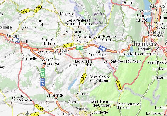 Mapa Plano Les Abrets en Dauphiné